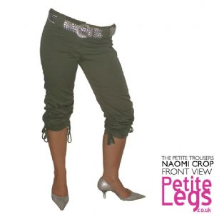Naomi Khaki Green Drawstring Cotton Crop Trousers | UK Size 8 | Petite Leg Inseam 17 - 21 inches | With Free Belt
